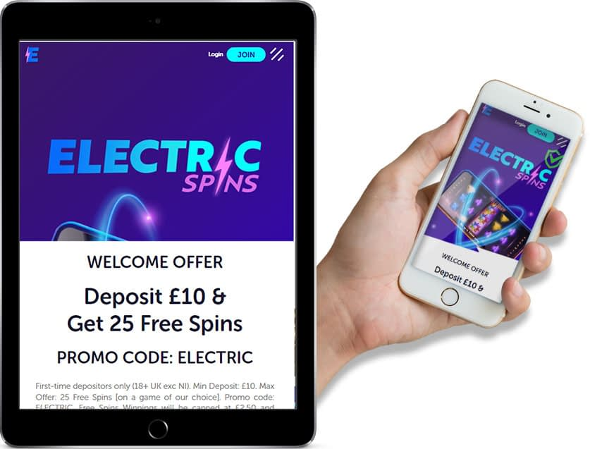 Screenshots of Electric Spins Casino Ipad and Mobile