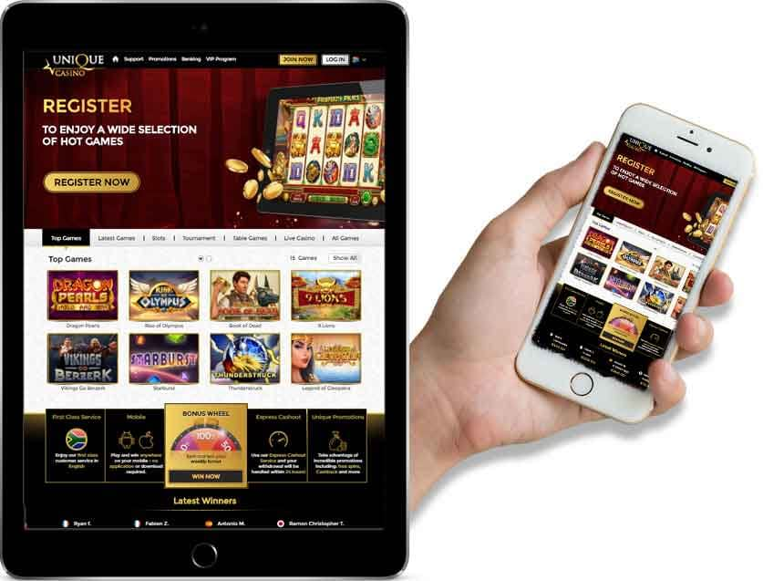 Screenshot of the Unique Casino website on phone and desktop