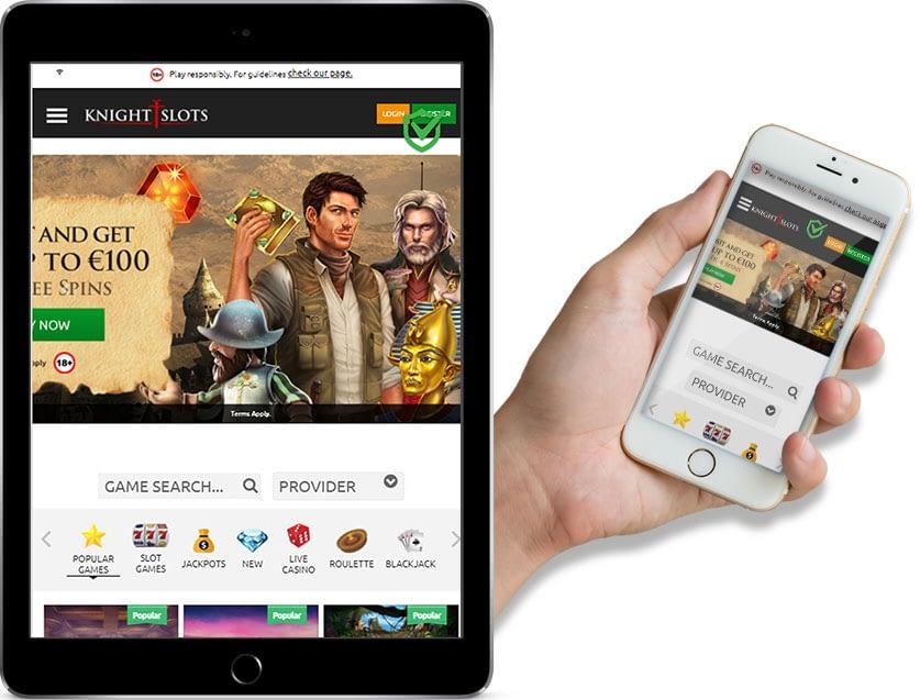 Ipad and mobile screenshots of Knight Slots Casino
