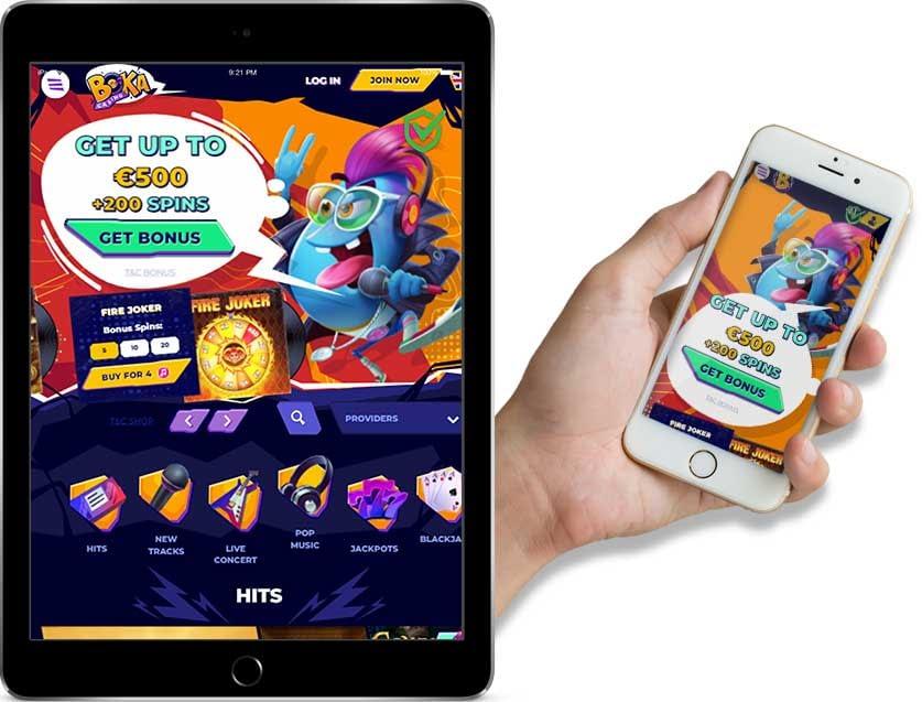 Screenshots of Boka Casino Ipad and Mobile