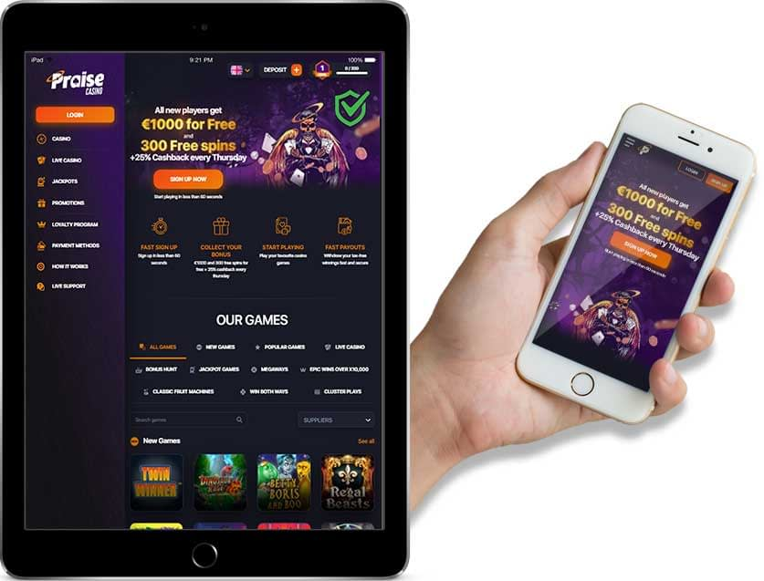 Screenshots of Praise Casino Ipad and Mobile