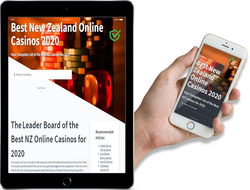 Screenshots of bestnewzealandcasinos.com Ipad and Mobile